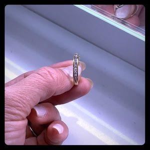 10k yellow gold hoop earrings with diamonds.